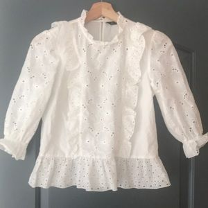 Zara White Eyelet Peasant Top